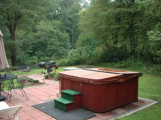 Blue Ridge cabin photo - Hot Tub and patio Area with Gas and Charcoal Grills