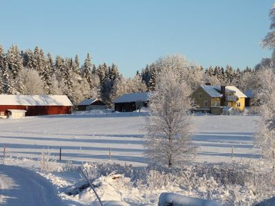 Farm, wood-burning stove, forests, lakes, ice fishing, cross-country skiing, internet, telephone
