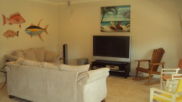 Spacious living room with big screen tv, DVD player, stereo.