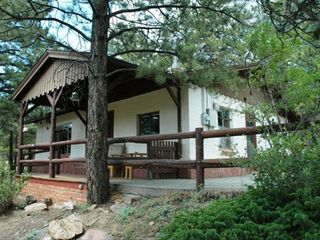 Estes Park cabin photo - Front of Chief Far View Cabin facing Long's Peak, Mt Meeker and Twin Sisters.