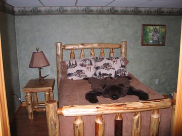 Bedroom with log furniture