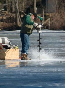 Ice Fishing is a favorite winter activity on the lake