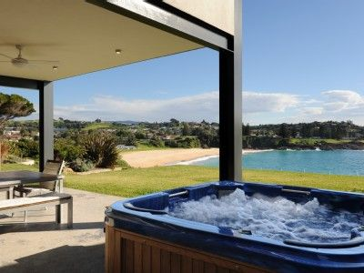 Soak in the hot tub on summer or winter holiday
