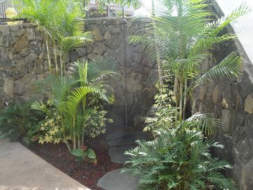 tropical outdoor shower for after dip in our saltwater pool, or after beach