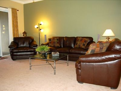 Living Room View #2 - New leather furniture with comfortable seating for 7