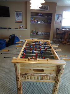 game room, foosball, board games, WII, chess