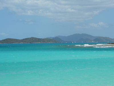 View of Tortola during Rolex Race Week from neighboring Lindquist Beach