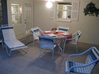Sarasota house photo - Comfortable patio, perfect for evening dinners outside.
