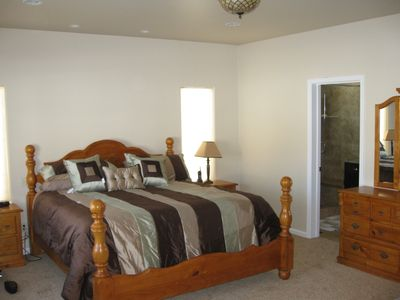 North Upper Truckee house rental - King size master bedroom with bay window for views