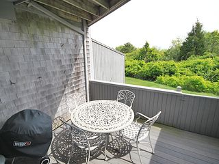 Hyannis - Hyannisport condo photo - deck off of LR, which steps away from private beach, Weber Charcoal Grille