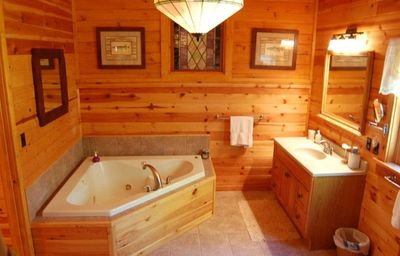 Master Bath with whirlpool tub for two, also includes large shower