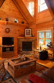 Todd cabin rental - Living Room with gas log fireplace