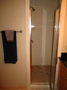 Complete guest bathroom on 1st floor with walk in shower.