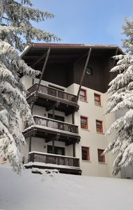 Snowshoe Mountain condo rental - Walk out onto the slopes - Our condo as seen from the Whistlepunk Trail