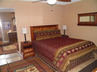 Bedroom 1 - with queen size bed, private bathroom entrance,TV,DVD, & WII
