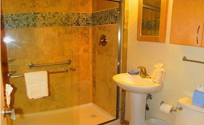 Remodeled bathroom--walk-in shower
