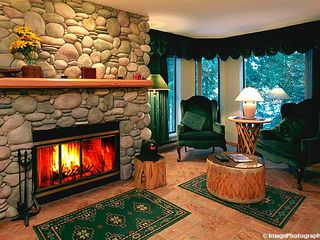 Whistler townhome photo - Living Room with River Rock Fireplace