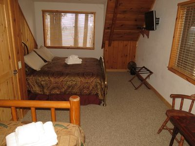 King Bed shown with twin trundle. This room affords stunning views of Lake Tahoe