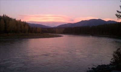 Sunrise over Glacier from the rivers edge