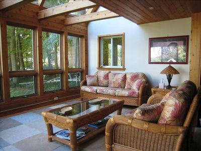 Windowed sunroom.