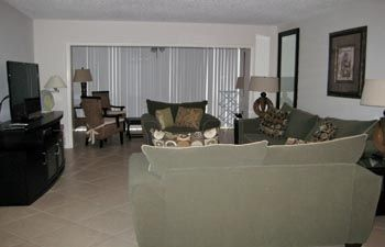 Living room With large screen HD flat screen TV with upgraded cable.