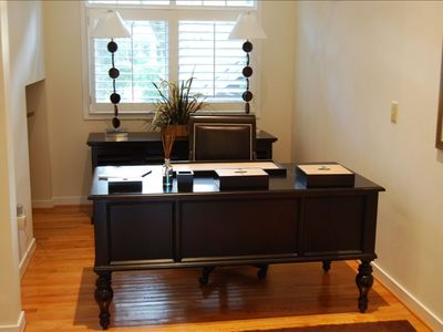 Office area has great desk, credenza and office chair. Use our house Wi-Fi !!