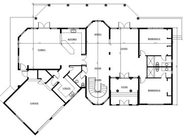 Floor layout on ground floor- large living space & 2 large beds + ensuites