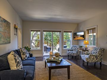 Los Olivos cottage rental - Living Room & Private Outdoor Patio