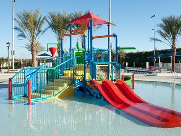 The new aquatic center, childrens play area in the water, olympic size pool also
