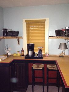 Coffee Bar off Mudroom in the rear of the Custom Galley Style Kitchen.