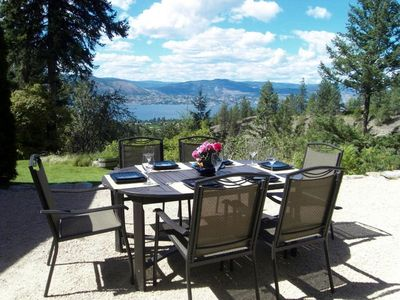 Outdoor patio /dining area overlooking the lake and canyon