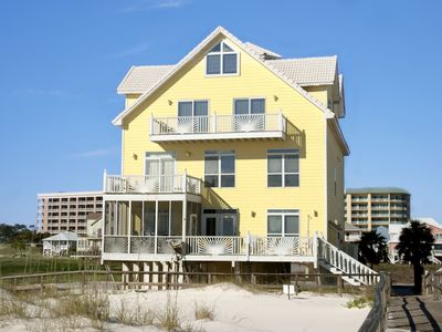 Fort Morgan house rental - View of house from beach boardwalk
