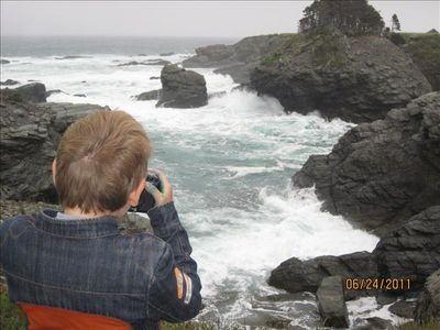 Taking pictures in Ochre Pit Cove