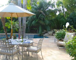 Santa Barbara house photo - Al Fresco Dining on the Patio, with speakers for music. Grill and patio heater.