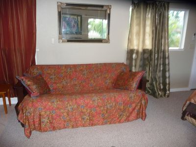 Kailua house rental - futon couch opens to a full size bed (upstairs)