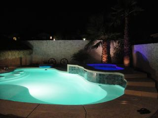 pool by night - Las Vegas house vacation rental photo