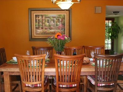 Dining Area - Teak table Overlooks Tropical Backyard...