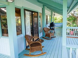Haleiwa house photo - The rocking chairs and upstairs deck with a bbq