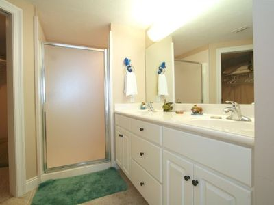 Lower Grand Lagoon condo rental - The Master Bath has a double vanity sink and a double head shower system.