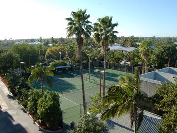 View of several tennis and handball courts.