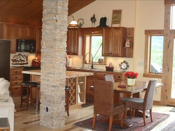 relax in the open kitchen and living area.
