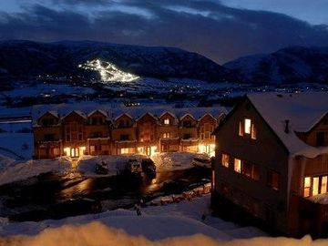 Beautiful Condos and Mountain at Night.