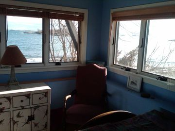 2nd ocean bedroom, full bed, lower deck and private beach below windows.