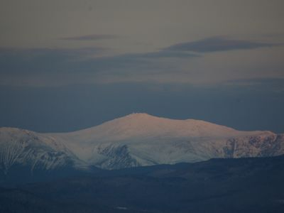 View of Mt Washington at winter dawn