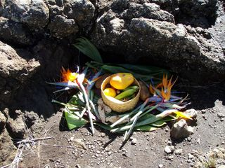 Kihei condo photo - a traditional Hawaiian offering at a private memorial site