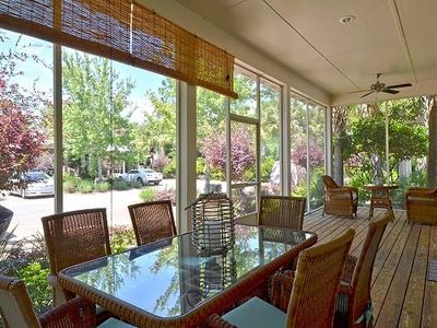 Screened Porch has Seating for Eight