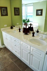 Master Bathroom also has double sinks and a lot of cabinet space!