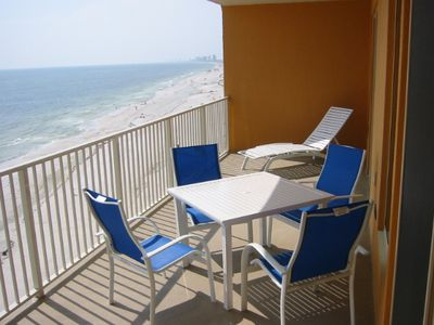 Balcony 27 by 9 foot directly on the Gulf access from master and living room.
