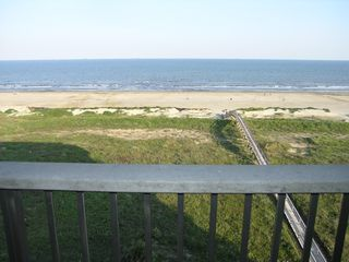 Galveston condo photo - Ocean view from the private balcony off the family room! Hear the waves?