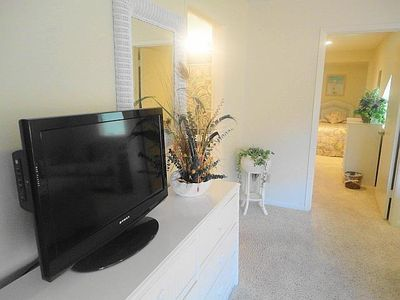 Flat screen TV with DVD player in upstairs Bedroom